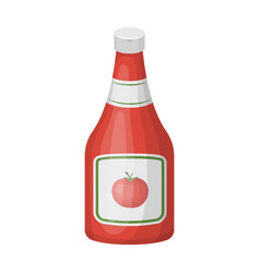 Bottle of ketchupburgers and ingredients single vector