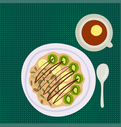 Breakfast oatmeal porridge with berries top view vector