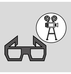 Camera film vintage with movie glasses vector