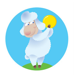 Cartoon sheep holding gold coin vector
