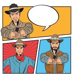 Cowboy comic bubble cartoon design vector
