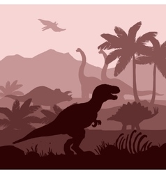 Dinosaurs silhouettes layers background banner vector image vector image