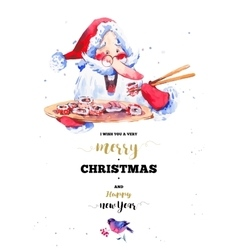 Funny santa claus with sushi and rolls vector