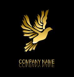 golden dove symbol vector image vector image