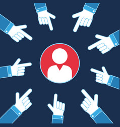 Hands pointing on person vote business vector