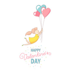 Happy valentines day card woman flying with heart vector