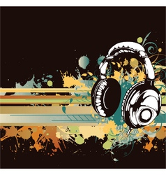 headphones with floral vector image vector image