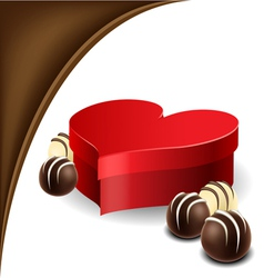 Heart box with chocolate praline for Valentine vector image
