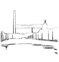 industrial landscape sketch drawing for your vector image