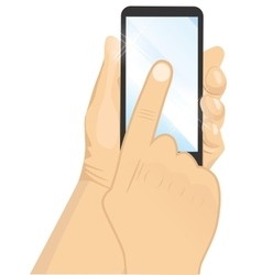 male hand holding a black vertical smartphone vector image vector image