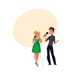 man and woman singing in duet karaoke party vector image vector image