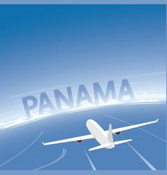 Panama skyline flight destination vector