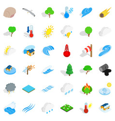 Peaceful nature icons set isometric style vector