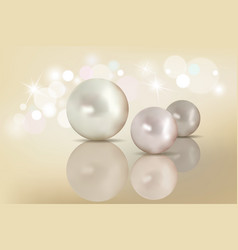 pearls set isolated on background beautiful shiny vector image
