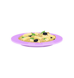Penne pasta with parmesan and olives italian vector