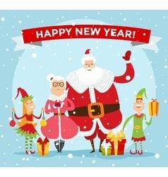 Santa Claus wife and kids cartoot family vector image