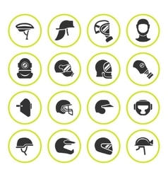 Set round icons of helmets and masks vector