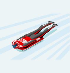 skeleton sled race winter sports vector image vector image