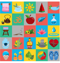 Spa flat icons healthy lifestyle wellness beauty vector