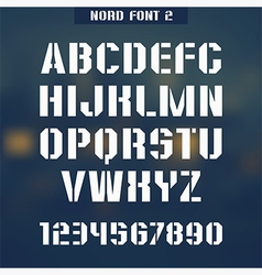 Stencil plate font Nord vector image vector image