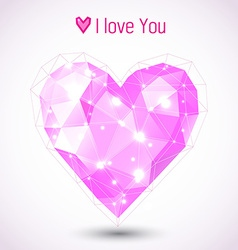 Triangle pink heart vector