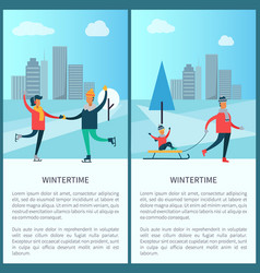 wintertime skaters and family vector image