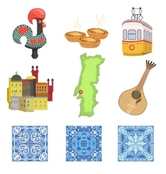 Portuguese national symbols set of objects vector