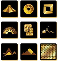 Set of elements in the style of gold of the incas vector