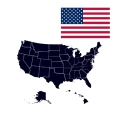 US states in the map of America vector image