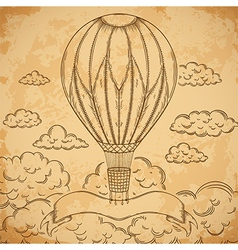 Vintage airship with ribbon vector