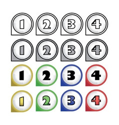 rounded multicolor pointers with numbers - vector image