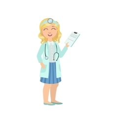 Girl dressed as doctor holding patients history vector