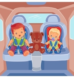 Two little boys sitting in child car seats vector