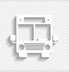 Bus sign   white icon with vector