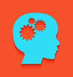 Thinking head sign whitish icon on brick vector