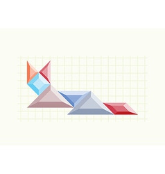 Cat icon button on the background tangram vector