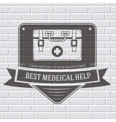 Medical kit logo or label template with blurred vector