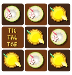 Tic-tac-toe of pineapple juice and coconut water vector