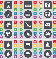 Game console keyboard floppy disk scissors vector
