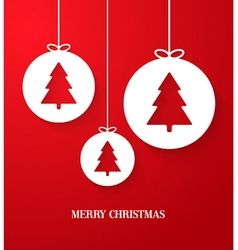 Christmas paper card with hanging toy vector