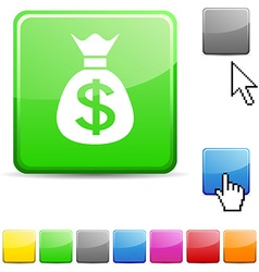 Money glossy button vector