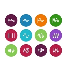 Music waves circle icons on white background vector