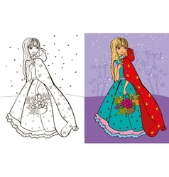 Colouring book of girl in red coat vector