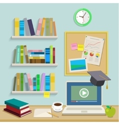 Workplace with computer for online education vector