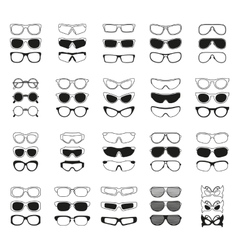 Fashionable glasses simple black icons set vector
