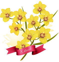 8th march holiday yellow flowers background vector