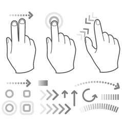 Touch screen gesture hand signs vector image