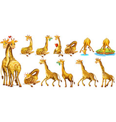 Set of giraffe in different actions vector