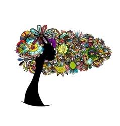 Female floral portrait for your design vector image