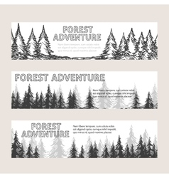 Monochromic horizontal banners with pine forest vector